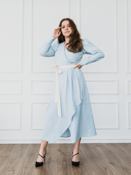 Organic and natural light blue cotton wrap dress